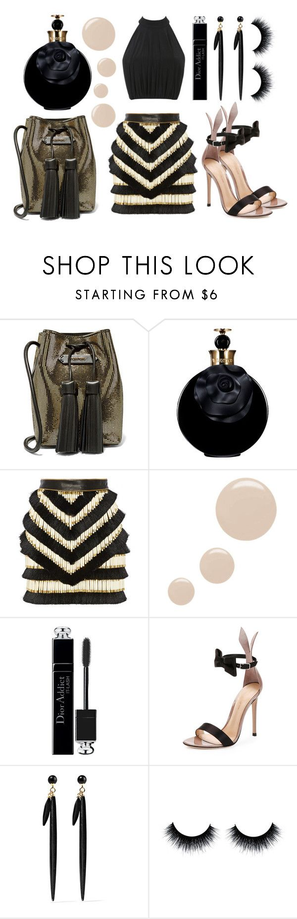 """Tom Ford bucket bag, Gianvito Rossi sandals, Raeve top, Balmain skirt, Isabel Marant earrings, Valentino Valentina perfume and Dior mascara."" by anastassiablog ❤ liked on Polyvore featuring Tom Ford, Valentino, Balmain, Topshop, Christian Dior, Gianvito Rossi and Isabel Marant"