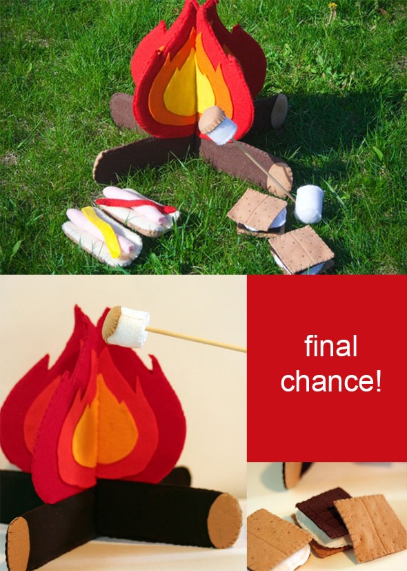 camping set - fire and logs, smores and hotdogs, very cute and perfect for our camping-crazy family