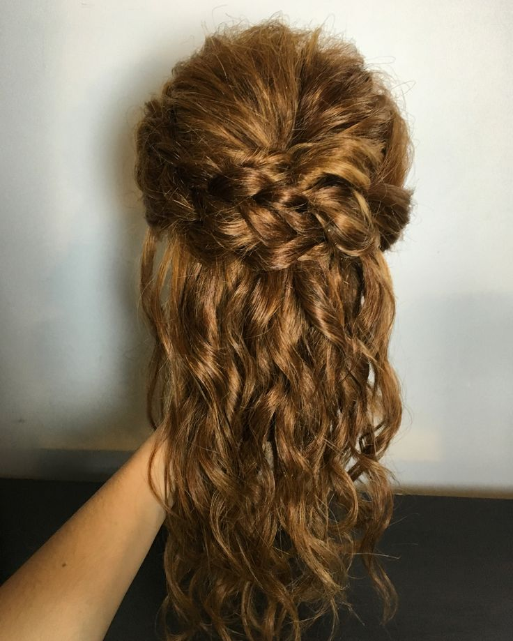 Half up updo wavy romantic hair