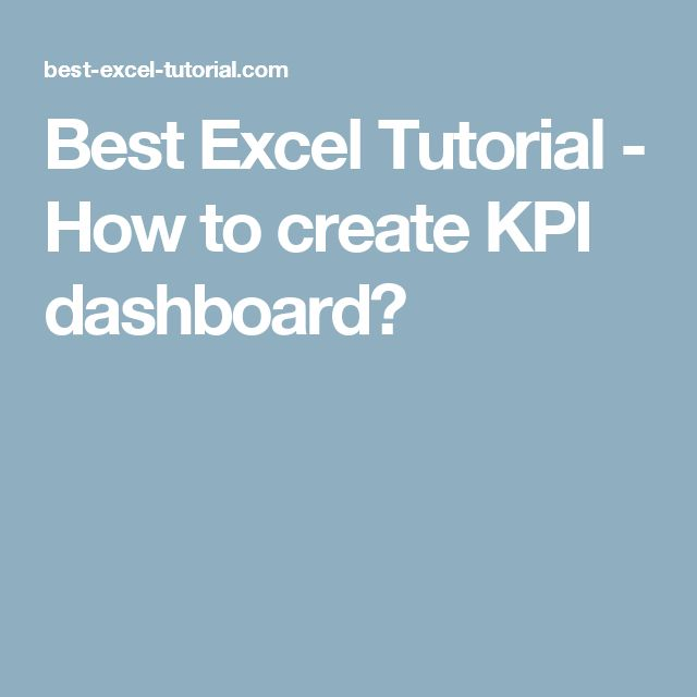 Best Excel Tutorial - How to create KPI dashboard?
