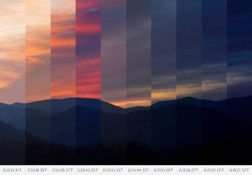 the grounded line of the horizon contrasts nicely against the vertical strips of each section and life is added through the elegant progression of colour.