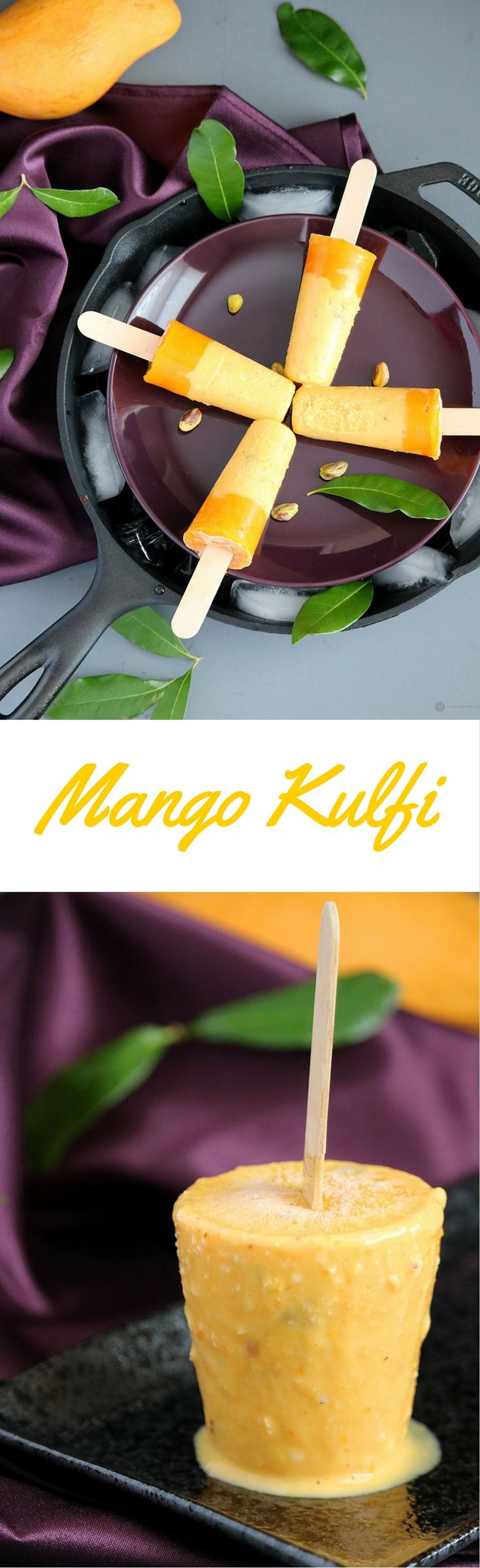 Mango Kulfi is a rich, creamy and nutty Indian Summer Frozen Treat | Ice Cream made by reducing milk until thick and flavored with nuts and mango pulp.