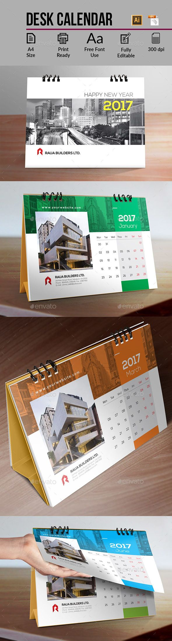 Desk Calendar  — EPS Template #monday #cover • Download ➝ https://graphicriver.net/item/desk-calendar/18091993?ref=pxcr