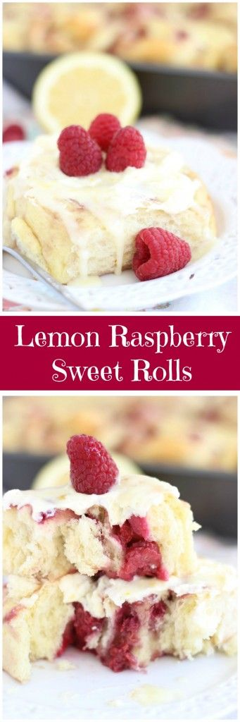 Lemon cake mix sweet rolls, filled with fresh raspberries and raspberry jam, and topped with Lemon Mascarpone frosting!
