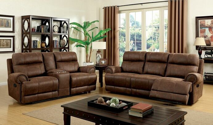 CM6281 2 pc kellie brown leather like fabric sofa and love seat with ...