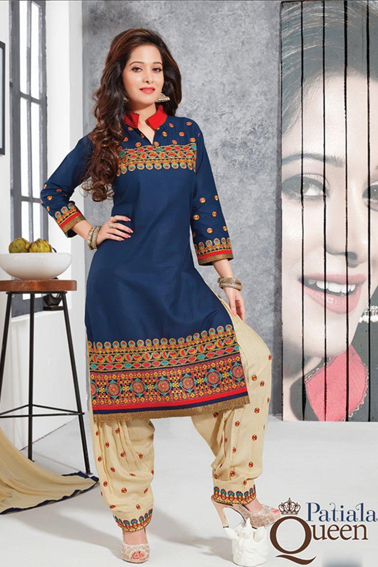 Designer functional wear blue cotton punjabi style patiyala dress with embroidary work...