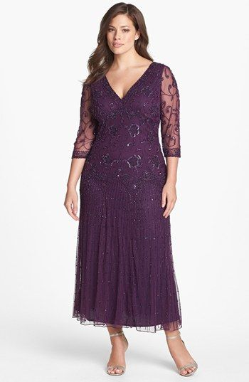 Need to find this and try it on! Pisarro Nights Beaded Mesh Gown (Plus Size) available at #Nordstrom