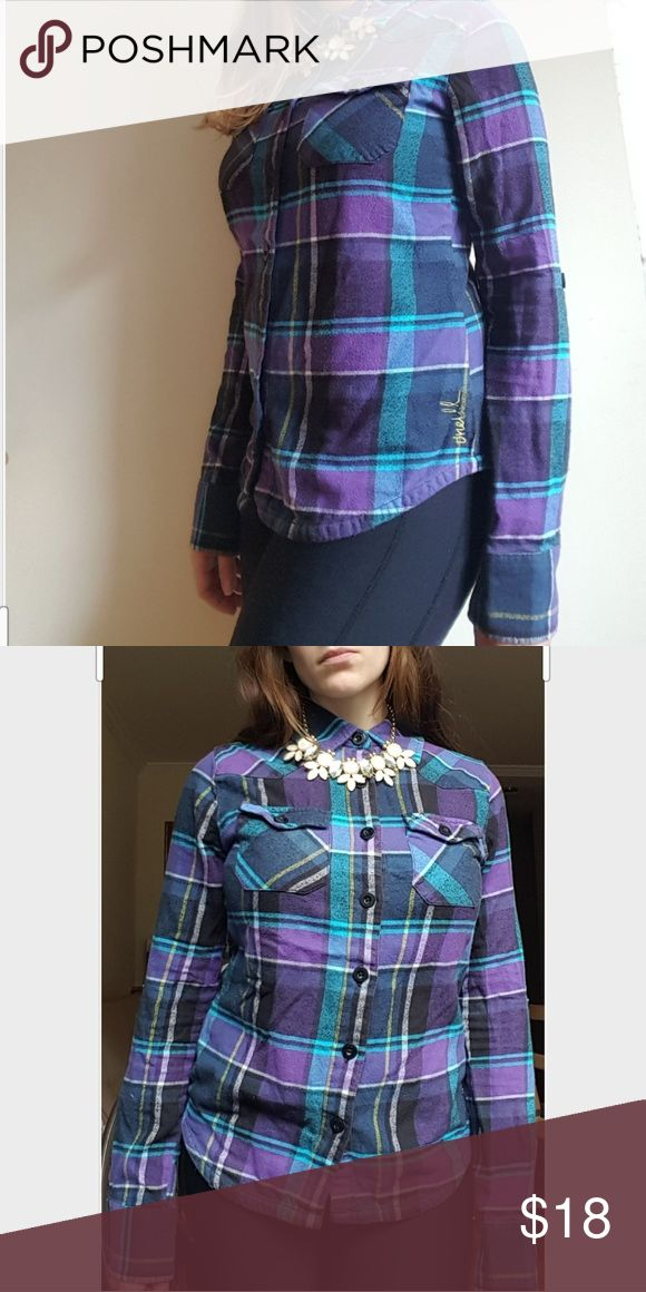Purple Plaid Fleece Long Sleeve Top This is a purple, navy, blue, and yellow fleece plaid button up top with collar neck and 2 front pockets O'Neill Tops Button Down Shirts