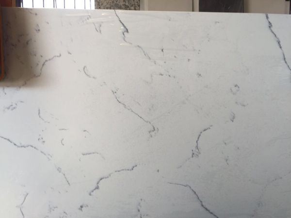 White Carrara Quartz Counter Tops Prefab For Sale In San