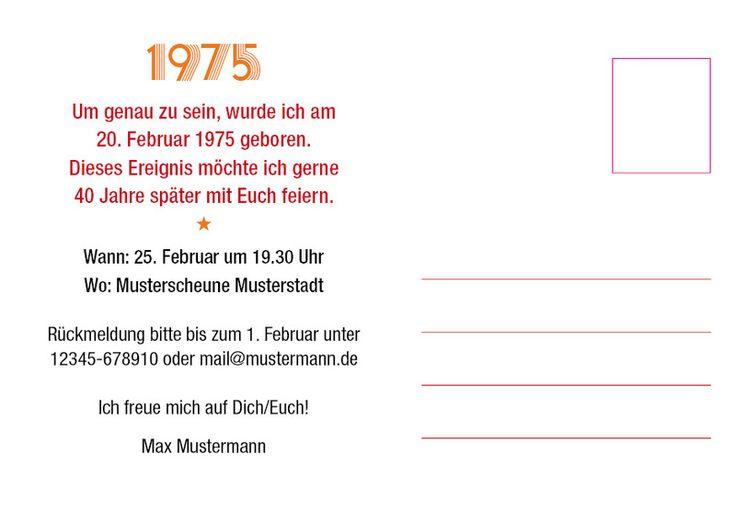 Einladungen - Einladung zum 40. Geburtstag: 1975 Ereignisse - ein Designerstück von individuelle-einladung bei DaWanda