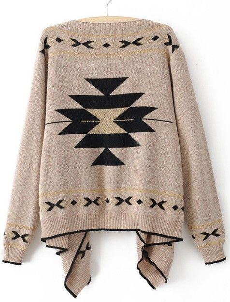 {Southwestern pattern asymmetrical cardigan}Khakis Long, Southwestern Pattern, Sleeve Asymmetrical, Long Sleeve, Winter Sweaters, Tribal Sweaters, Cardigan Sweaters, Cardigans Sweaters, Asymmetrical Cardigans