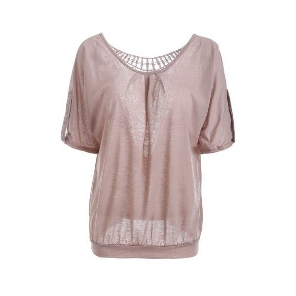 Scoop Neck Hollow Out  Batwing Sleeve T Shirt (€10) ❤ liked on Polyvore featuring tops, t-shirts, brown t shirt, scoop neck t shirt, brown top, scoopneck top and bat sleeve tops