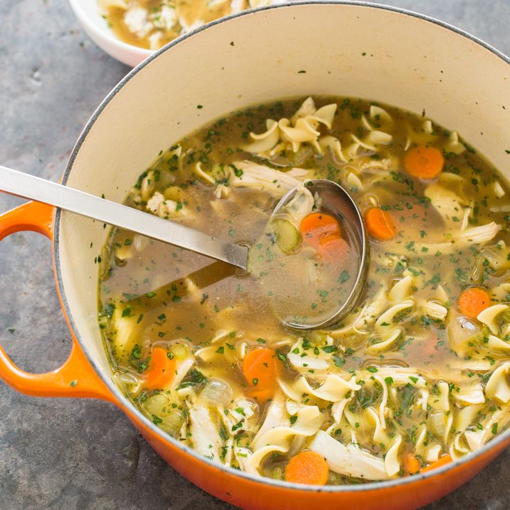 A broth developed from an Edna Lewis recipe makes full-flavored chicken noodle soup possible in less than ninety minutes.
