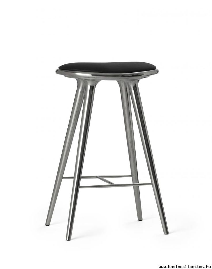 Basic Collection, High stool #design #furniture #stool #metal #leather #silver