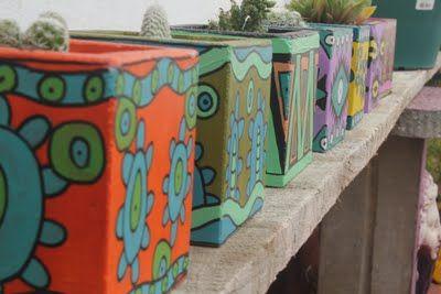 Sacate la espina! Cactus: Cactus.. y macetas pintadas a mano con diseños ún...