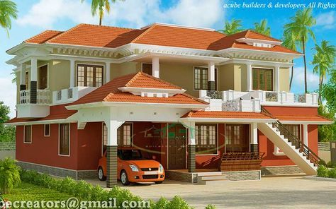 Model Keralahouse In Traditionalhome Look 3074 Sq Ft Ground Floor 1814 Sq Ft Car Porch Sit Out Drawing Dining Study Room Attached House Paint Exterior Exterior Paint Colors For House Outside House Colors