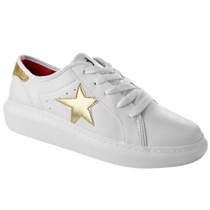 Tênis Feminino Estrelas Dijean - Branco/Dourado