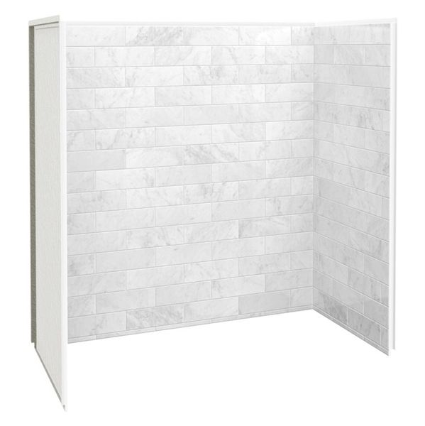 Shop Maax 60 In X 30 In X 60 In Marble Carrara Fiberglass X2f Plastic Composite Bathtub Wall Surround At L Bathtub Wall Surround Marble Bathtub Bathtub Walls
