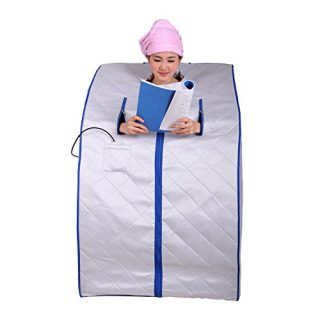 ALEKO PIN11SB Personal Folding Portable Home Infrared Sauna w/ Folding Chair and Foot Pad, Silver w/ Blue Trim Color - Portable Saunas