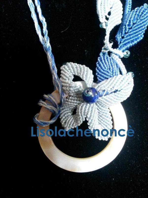 """Collana macrame handmade """"Fiore azzurro"""" con lapislazuli di lisolachenonce su Etsy"""