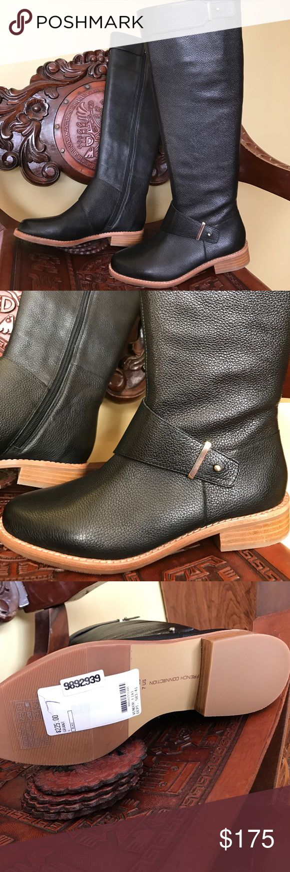 French connection grain leather boots Amazing, warm and so comply soft grain leather boots. With black furry lining giving a luxurious feel. So chic and trendy, perfect for city walk. I a 7.5 but these fit me fine. Sold out paid $225 plus tax in NYC. Knee high. French Connection Shoes
