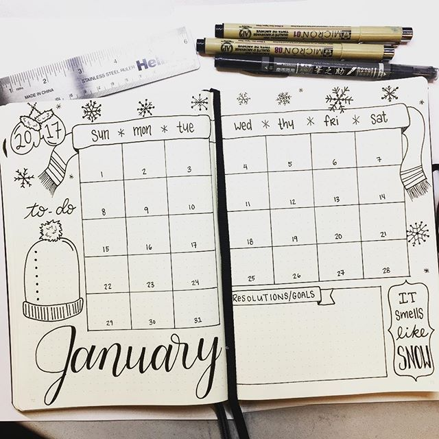 Happy New Year everyone!  Cheers to a more organized 2017! . I chose a snow theme this month. It doesn't smell like snow here in South Carolina but I have hope we might get some next month! . . . #january #monthlyspread #bujospread #calligraphy #moderncalligraphy #bujo #bulletjournal #bulletjournaljunkies #bujoaddict #plannergirl #plannercommunity #notebook #plannernerd #planneraddict #planner #leuchtturm1917 #micron #calendar @leuchtturm1917 @sakuraofamerica #bujobeauty #bjcmonthly #bull...