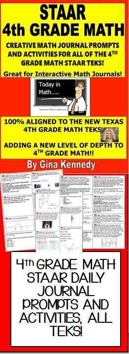 4th GRADE MATH STAAR JOURNALS! With this product, you will receive daily math journal prompts and activities for all of the 4th grade Texas STAAR math TEKS.  The math journal activities would make a wonderful addition to your daily journal writing routine or your interactive math journals. You could use the journal prompts throughout the year or use them as a countdown to STAAR to review all of the TEKS one by one.$
