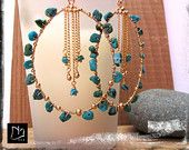 3 Inch xxl 14kt Gold Filled Huge Super Extra Large Artisan Hoops and Chains Earrings with Turquoise Wire Wrapped by Nathalie Lesage TAG