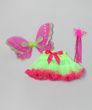 Take a look at this Green & Fuchsia Butterfly Pettiskirt Set - Toddler & Girls by Sparkle Adventure on #zulily today!