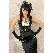 Gatsby Peplum Skirt (Black with Champagne Feature) - $169.00