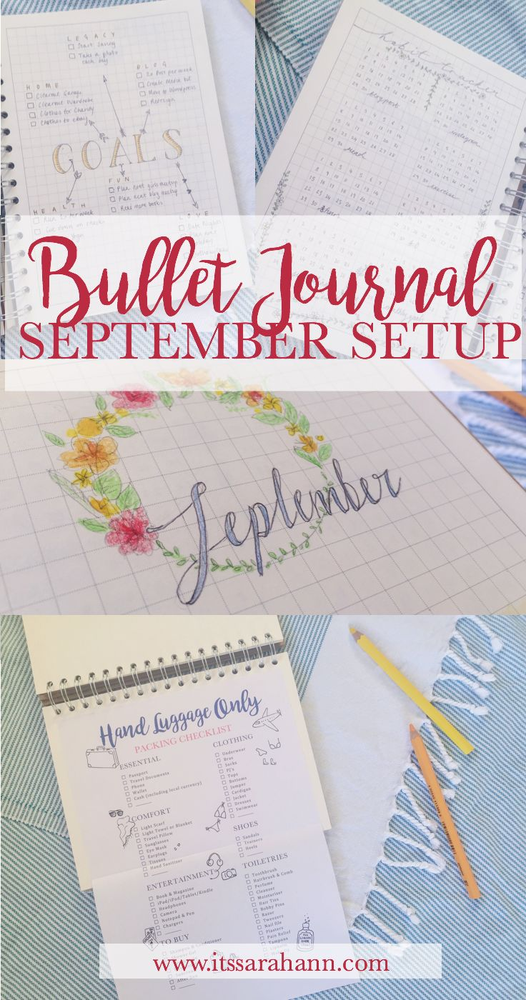 BULLET JOURNAL SEPTEMBER SETUP featuring monthly goals, habit tracking and a packing checklist