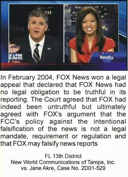 Fox News... No legal obligation to report the truth ... Now proudly publicly…