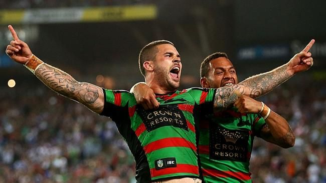 Adam Reynolds and Apisai Koroisau of the Rabbitohs celebrate after a try during the 2014 Grand Final