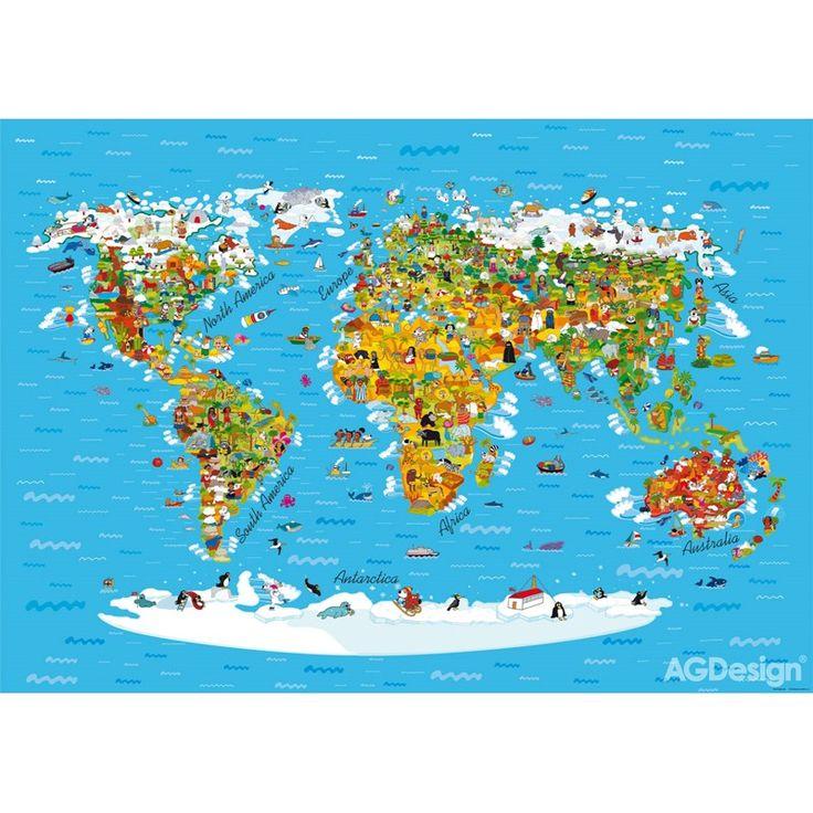 Fototapet Harta Lumii pentru pereti din camere copii si gradinite
