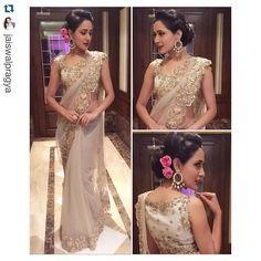 """Model and actor Pragya Jaiswal wearing an Anushree Reddy saree! ❤️ #Repost @jaiswalpragya with @repostapp. ・・・ Wedding ready!!In this breathtakingly…"""