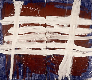 Tony TUCKSON, White over red on blue 1971