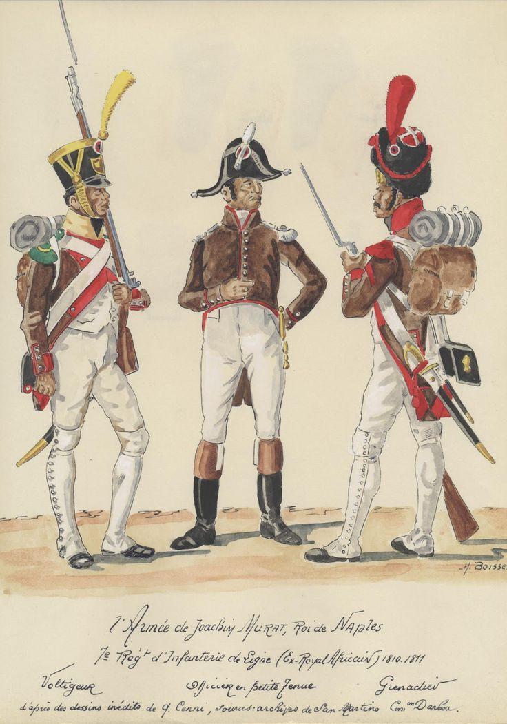 Volteggiatore, ufficiale e granatiere del 7 rgt. fanteria di linea del regno di Napoli