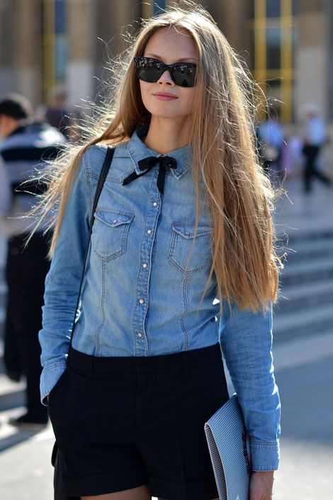 Denim shirt + black shorts + baby bow