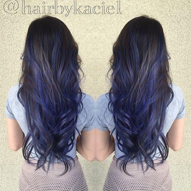Love this blue on black hair!