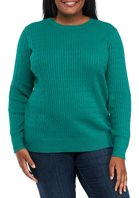 0366e842bcd Kim Rogers® Plus Size Long Sleeve Cable Crew Neck Sweater