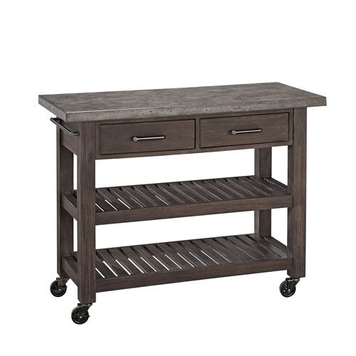 Concrete Chic Brown And Gray Kitchen Cart Home Styles Furniture Serving & Utility Carts Ki