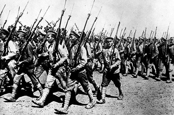 Russian Civil War, November 6, 1917 - June 17, 1923 Red Army unit (loyal to the Bolsheviks) march through Kharkov to fight the soldiers of the White Army (heterogeneous coalition of forces opposed to the Bolshevik regime).
