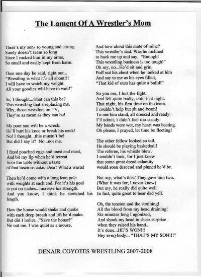 Interesting poem written by a wrestling mom!