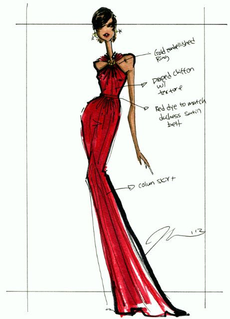 Michelle Obama Wears Jason Wu Once Again On Inauguration Night: Jason Wu's sketch for Michelle Obama's inauguration look