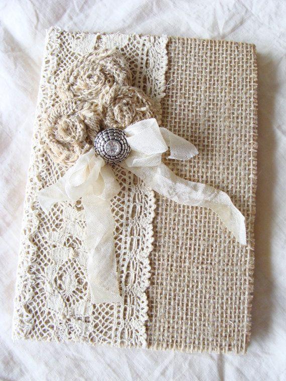 Burlap Lace Journal Diary Notebook Wedding Memory por ShabbySoul