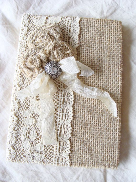 Burlap Lace Journal Diary Notebook Wedding Memory Book Guestbook Giftbook Mother of Bride Bridesmaid Baby Prayer Journal Gratitude Journal