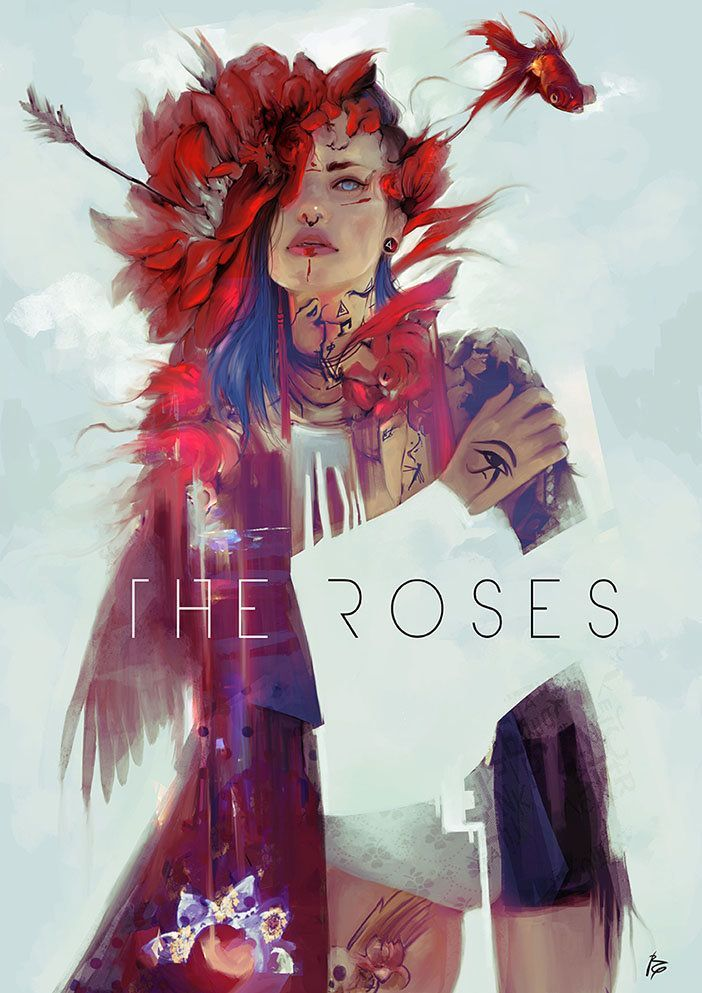The Roses by Raquel Cornejo /// This illustration is captivating, really like the use of this painterly look that it has.