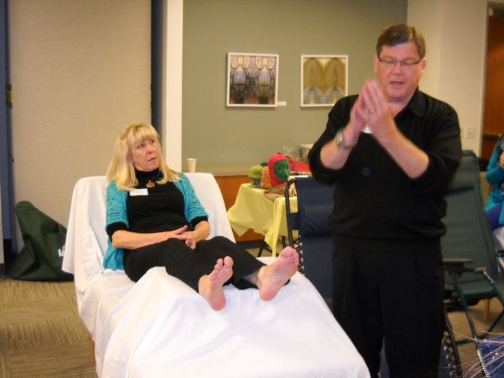 Paul demonstrating 3D Reflexology