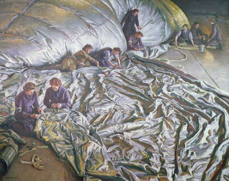 Dame Laura Knight ~ 'In for Repairs', 1942 ~ A team of women are mending a barrage balloon as part of the war effort. The devices were used to defend against attack from low-flying aeroplanes.
