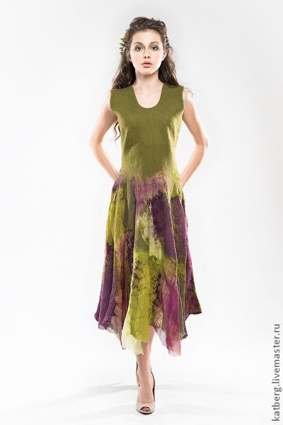 Платья ручной работы. Платье Сика. Katerina Kelberg (katberg). Ярмарка Мастеров. Дриада, ведьмочка, валяное платье, шёлк натуральный